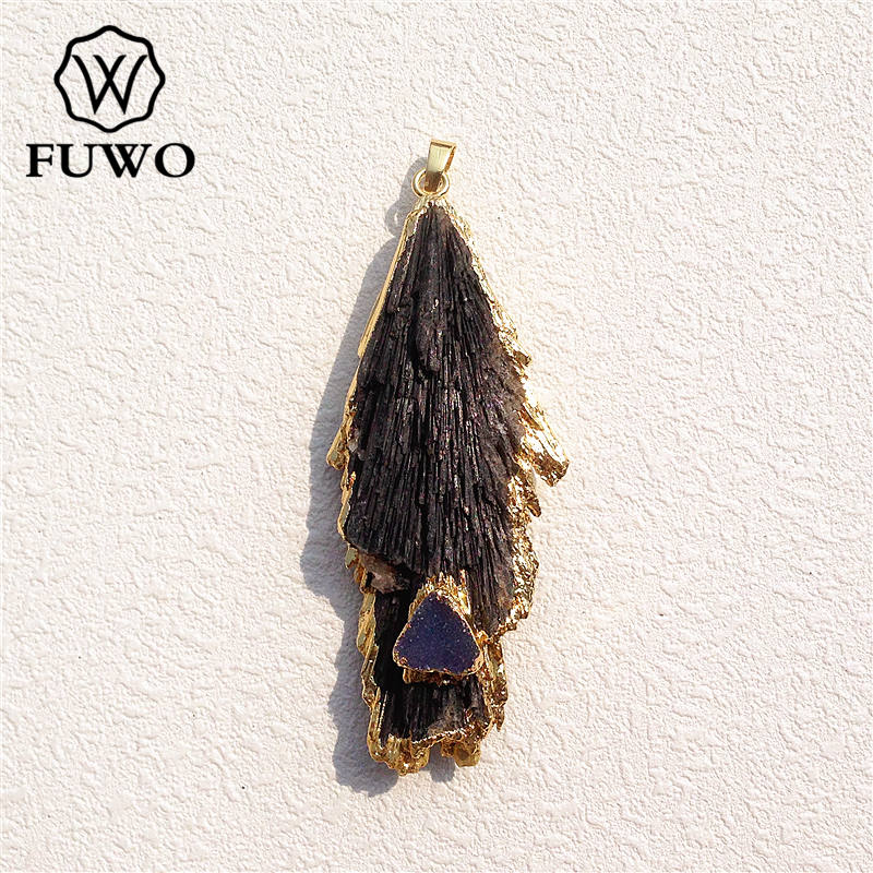 FUWO Natural Black Kyanite Stone Pendant High Quality Black Tourmaline Druzy Charm 24K Gold Eectroplated Jewelry