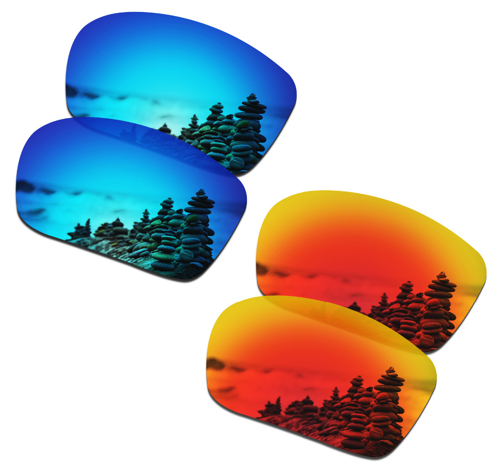 SmartVLT 2 Pairs Polarized Sunglasses Replacement Lenses For Oakley Triggerman Ice Blue And Fire Red