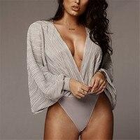 Women's Sexy Deep V Neck Long Sleeve Bodysuit Loose Romper Pleated Leotard Jumpsuit Bodysuit Shirts Tops Spring Summer