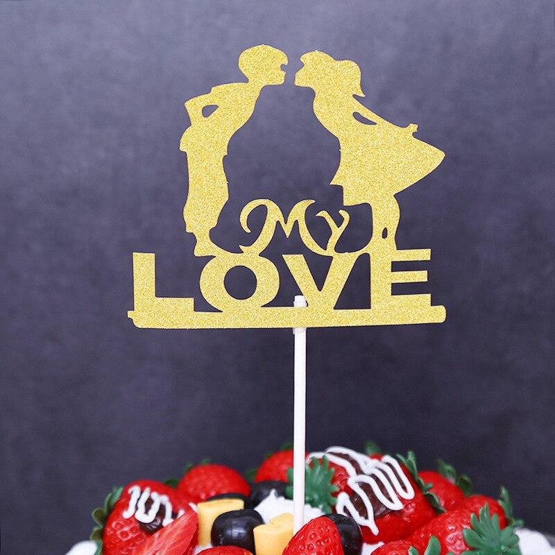 1pc My Love Wedding Cake Flags Gold Black Blue Red Cupcake Cake ...