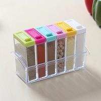 6pcs/set Colorful Transparent Spice Jar Condiment Cruet Storage Box Cover with Hold Kitchen Tools Salt Case Gift