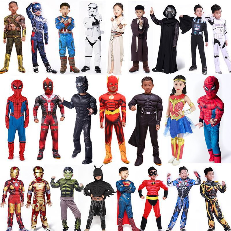 Avengers cosplay costumes Captain America Steel Spiderman Children's Anime Halloween Dress