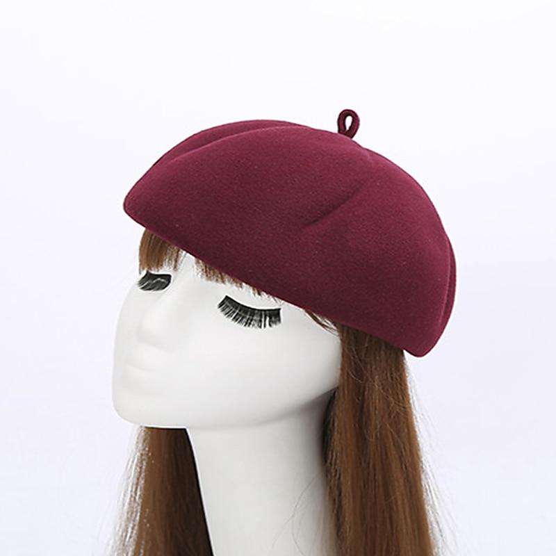 Wool Felt Women Autumn Winter Berets Fashion British Style Girls Beret Hat Solid Color Bonnet Femme Pumpkin Hats Beanie Hat Cap