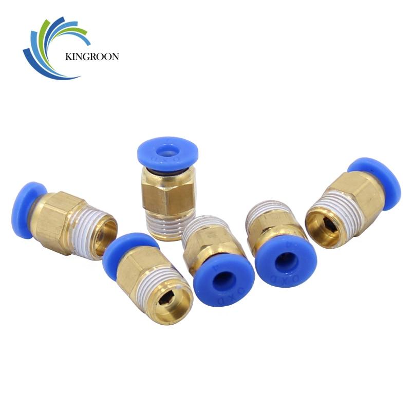 5pcs Pneumatic Connectors PC4-01 PC6-01 For V6 V5 3D Printers Parts 1.75mm 3mm Quick Coupler J-head Fittings Hotend Copper Part