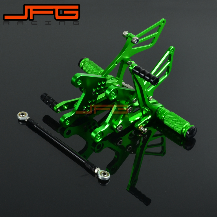 Motorcycle CNC Adjustable Foot Pegs Pedals Rest Rearset Footpegs For KAWASAKI ZX6R ZX-6R 2005-2008 2005 2006 2007 2008 for kawasaki ninja zx6r 636 zx6rr zx 6r 2005 2006 cnc motorcycle accessories brake clutch levers adjustable folding extendable