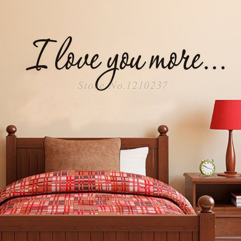 dctop i love you more sticker waterproof vinyl wall stickers home decor bedroom simple design wall