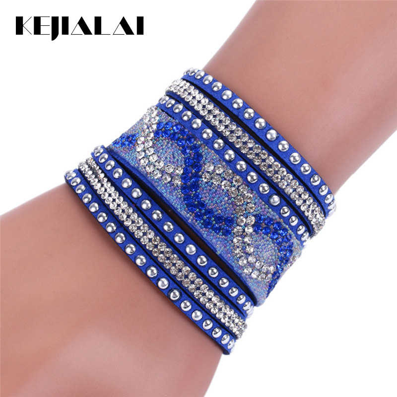 Kejialai New Fashion Multi Rows Crystal Bracelet Women Charm Leather Bracelets Wide Rope Chain Accessories Ethnic KJL020