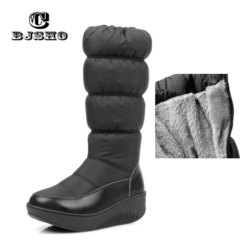 CBJSHO Women Snowflake Elastic Snow Boots Wedge Med Heels Slip on Round Toe Shoes Women Winter Boots Fur Inside Mid Calf Boots nayiduyun women genuine leather wedge high heel pumps platform creepers round toe slip on casual shoes boots wedge sneakers