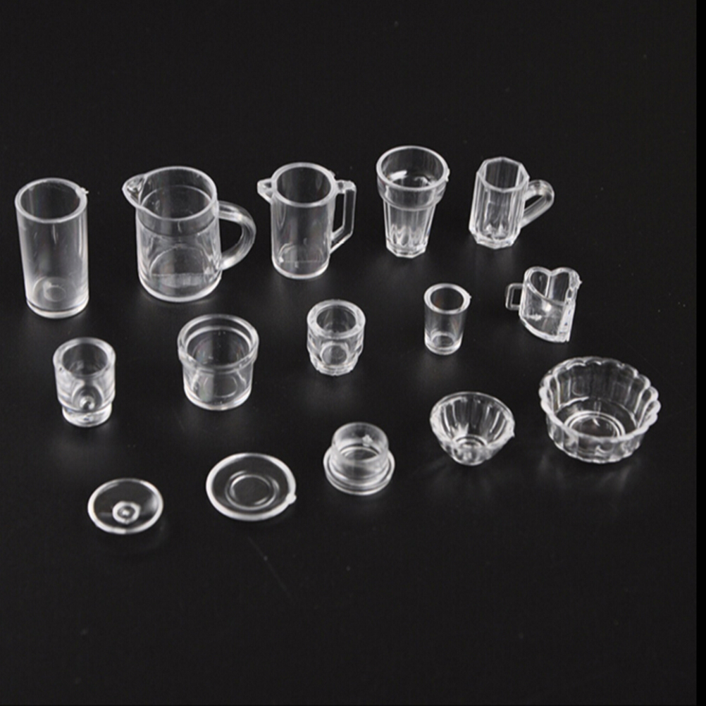 15Pcs/set Mini Dollhouse Cup Set Plastic Doll House Miniatures Tableware Drink Wine Bottles Goblets Beer Plates Accessories