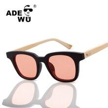 ADE WU Bambú gafas de Sol de Las Mujeres UV400 Lentes de Gafas de sol Mujer Hombre Gafas de Sol De Madera De Bambú Gafas Vintage gafas de sol mujer
