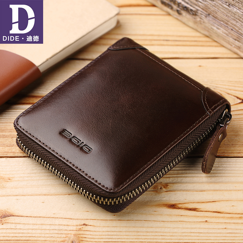 DIDE 2018 Fashion Red Brown Men's Wallets male oil wax Genuine Leather Wallet Zipper Coin Purse Card Holder Short Wallet men new design 100% leather genuine male wallets slim short men wallet with zipper coin purse pocket soft leather card holder wallet