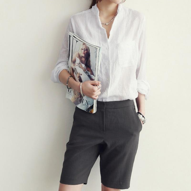 Blanca Top Manga Mujeres Nuevas Tops blanco Mujer Oficina Larga Camisa De gris Blusa Verano Delgadas Azul Ropa Señora wFgxz