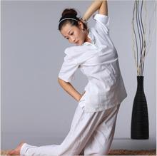 купить High quality Cotton linen Yoga Suits Spring Summer Short Sleeve martial Jacket + Pants Loose Tai chi Kungfu Comfortable Clothes дешево