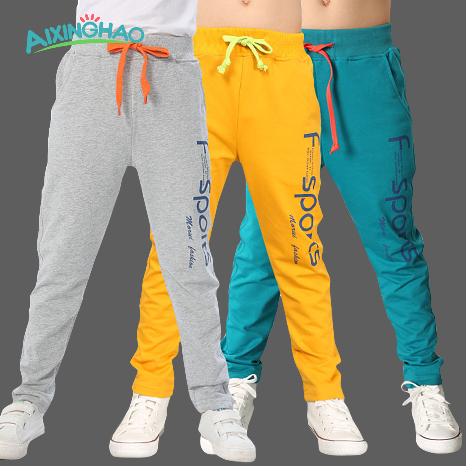 Aixinghao Kids Boys Pants Autumn Letter Print Cotton Trousers Children Teenage Boys Sport Pants Casual Kids