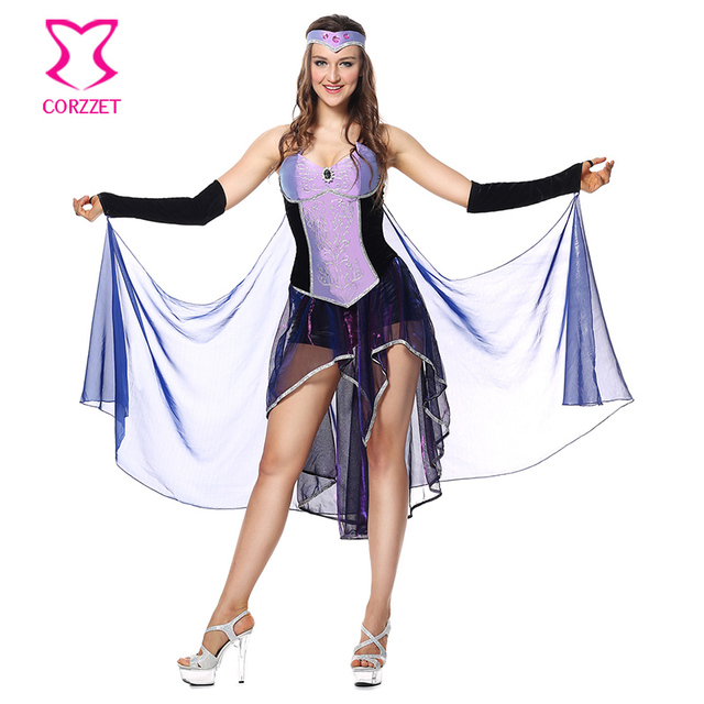 a256b5a4fe9d5c Corzzet Cleopatra Kostuum Sexy Koningin Paars Jurk Griekse Godin Cospaly  Party Kleding Athena Kostuum Halloween Voor