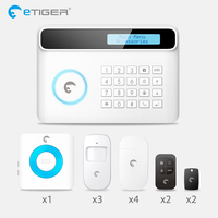 Etiger S4 Wireless GSM Alarm System Home auto security Systems with PIR/Door Alarm Sensor APP control device kit