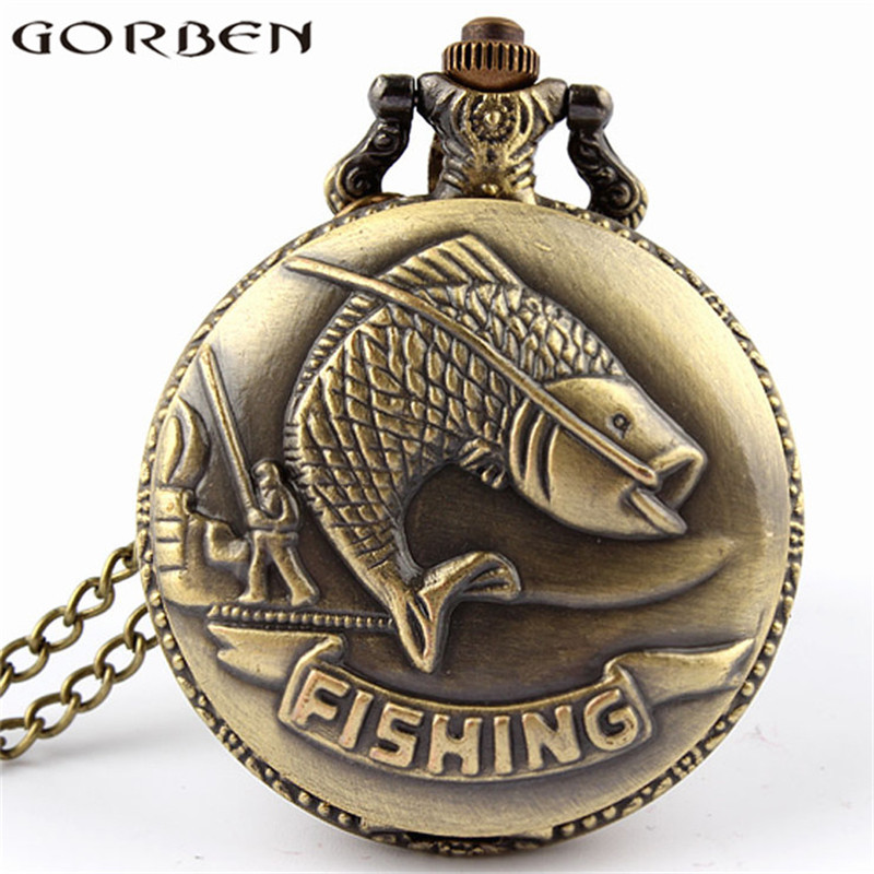 Bronze Fishing Antique Style Quartz Pocket Watch Vintage Interesting Design Angling Quartz Pocket Watch For Men And Women P108