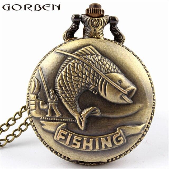 Bronze Fishing Antique Style Quartz Pocket Watch Vintage Interesting Design Angl
