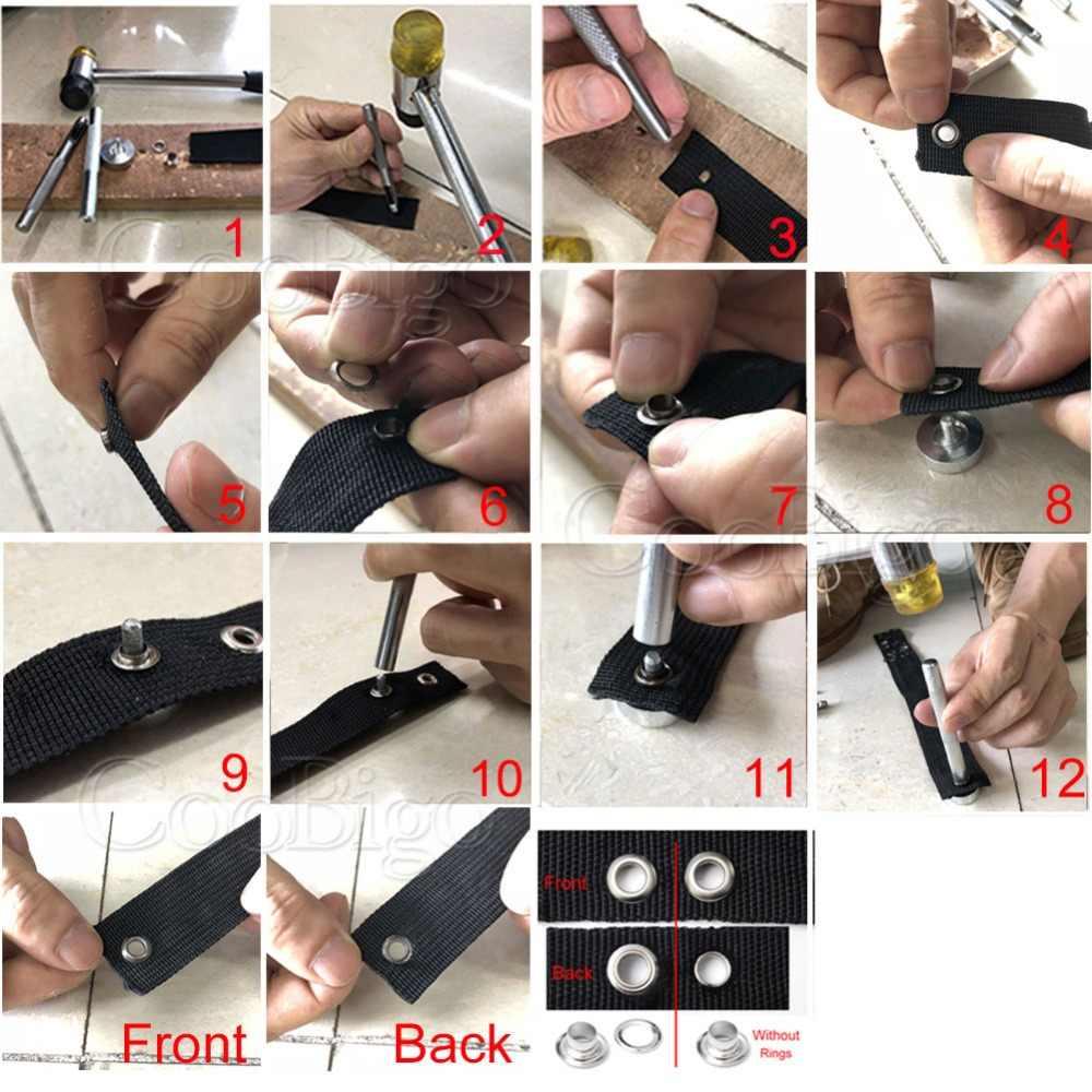 100 juegos de Ojales metálicos con ojal de diámetro de 2mm ~ 6mm para DIY Scrapbooking Cap cuero artesanía zapatos cinturón bolsa etiqueta accesorios de ropa