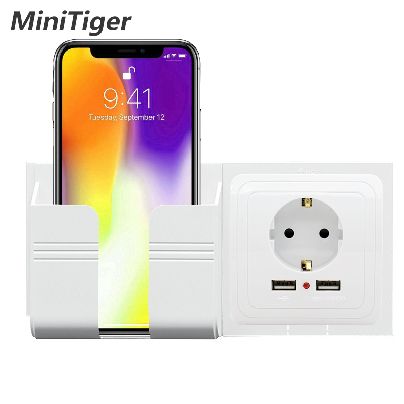 Minitiger Wall Socket Phone Holder Smartphone Accessories Stand Support For Mobile Phone Apple Samsung Huawei Phone Holder