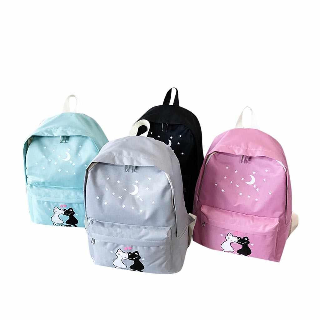Maison Fabre Women Four Piece Backpack Printed Cat Backpack Travel Student Bag School Bag women backpacks 2017 travel softback 7