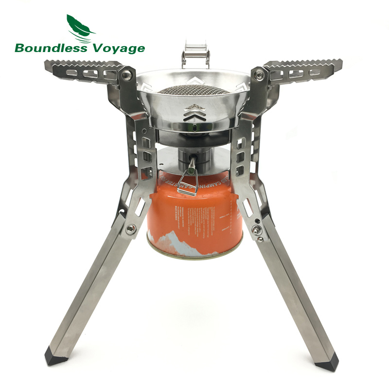 Boundless Voyage Outdoor Camping Pinic Gas Stove with Bag 3800w Big power Gas Stove with Free Lighter BV1014 boundless voyage gas stove camping stove for outdoor cooking portable lightweight big power aluminum alloy bv1007