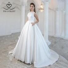 אלגנטי סאטן חתונה שמלת 2020 Swanskirt קשת חזרה כדור שמלת משפט רכבת הכלה שמלת נסיכת מותאם אישית Vestido דה Noiva M105