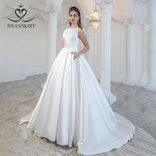 Elegant Satin Wedding Dress 2020 Swanskirt Bow Back Ball Gown Court Train Bride Gown Princess Customized Vestido de Noiva M105