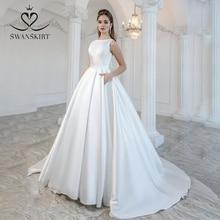 Elegante Satin Hochzeit Kleid 2020 Swanskirt Bogen Zurück Ballkleid Gericht Zug Braut Kleid Prinzessin Angepasst Vestido de Noiva M105