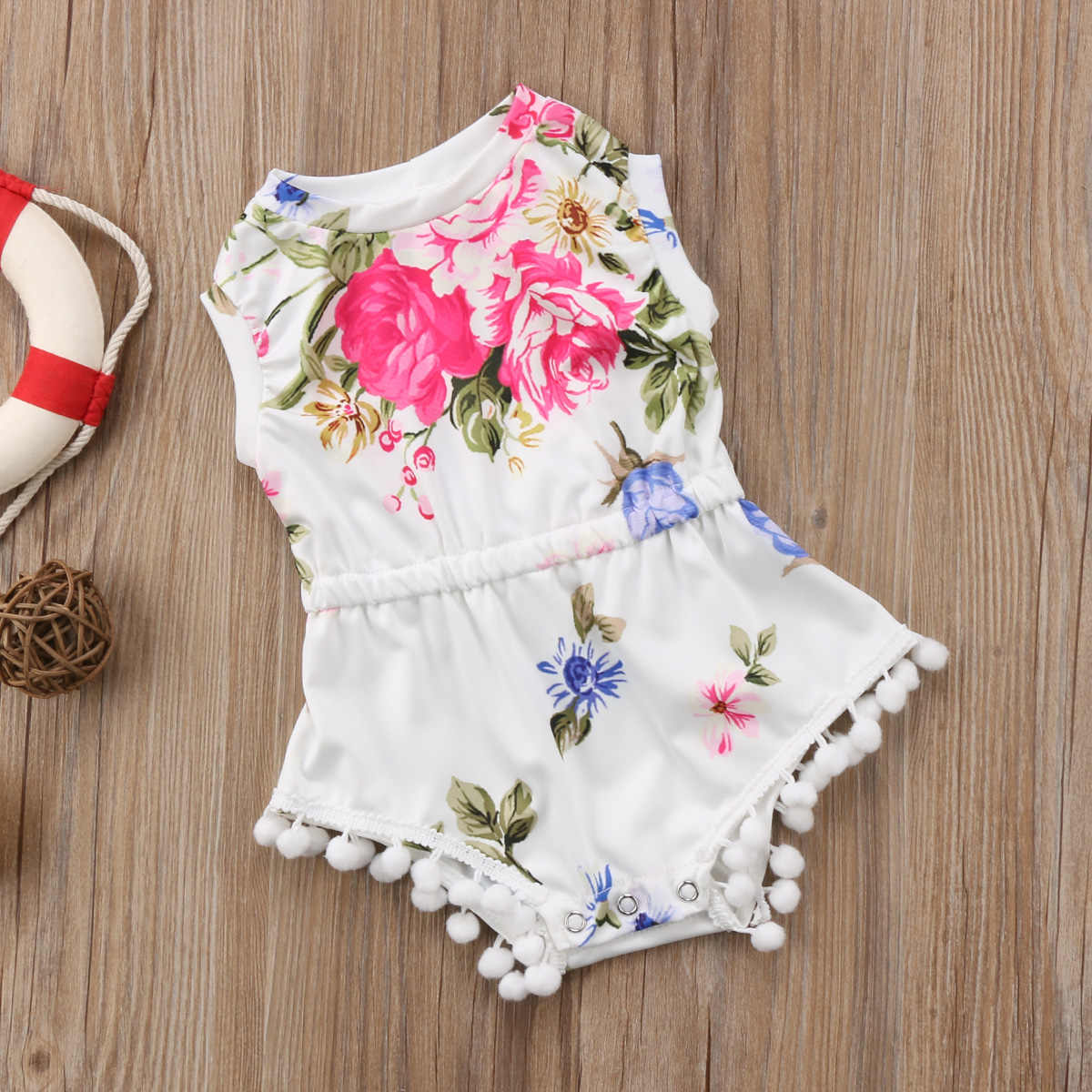 e619e2ae33a3 ... Fashion Summer Floral Newborn Kids Baby Girls Sleeveless O-neck Romper  Babygrow Sunsuit Cotton Tassel ...