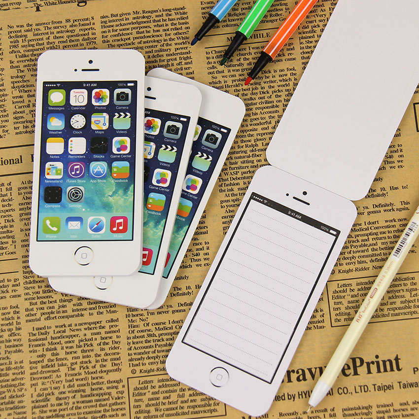 White Fashion Sticky Note Paper Cell Phone Shaped Memo Pads Paper Notes Sticky Office Supplies