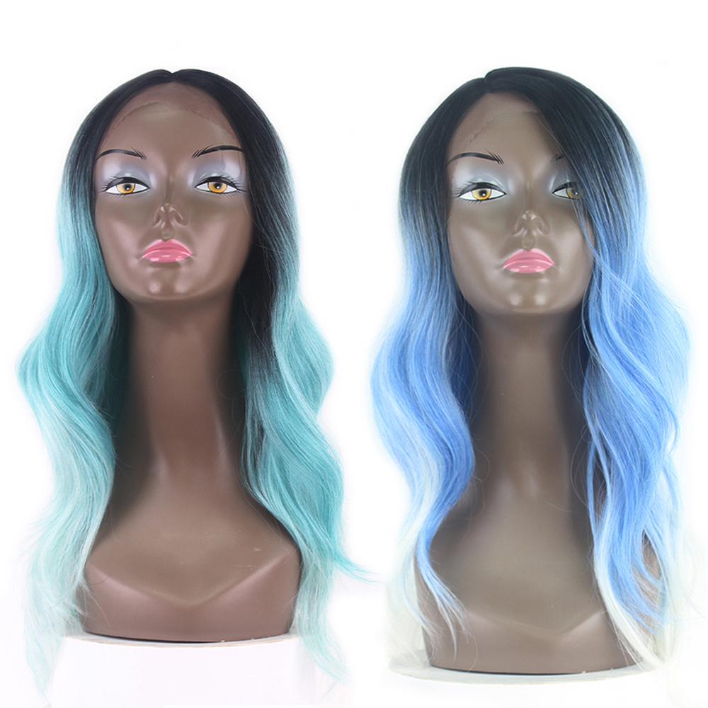X Tress Dark Root Ombre Green Blue Color Synthetic Hair Wigs For Black Women Body Wave Lace Front Trendy Long Hair Wig Side Part