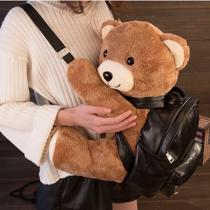 2018 New cartoon Plush bear Backpack PU leather Women/Girls Fashion Backpack Plush Teddy Bear Backpack/School Bag for Girl S049 women pu leather backpack mansur lady leather backpack girl leather school bag free shipping fashion girls bag