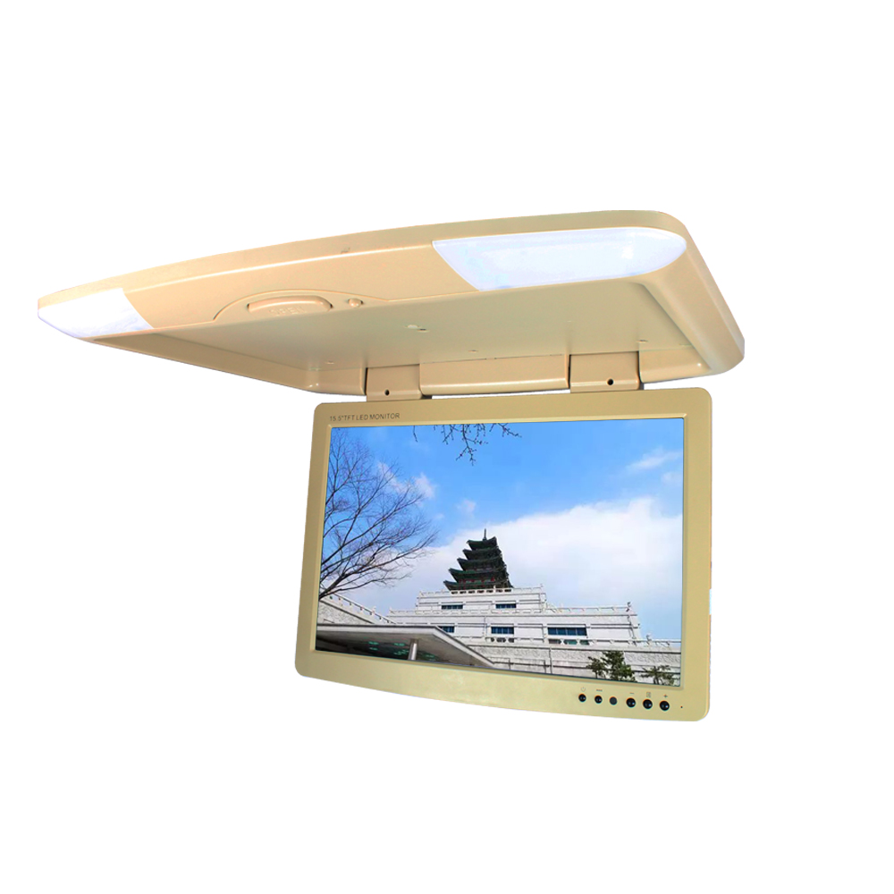 17 inch car monitor DC 12V dual video inputs flip down monitor TFT LCD digital screen Beige color SH1708