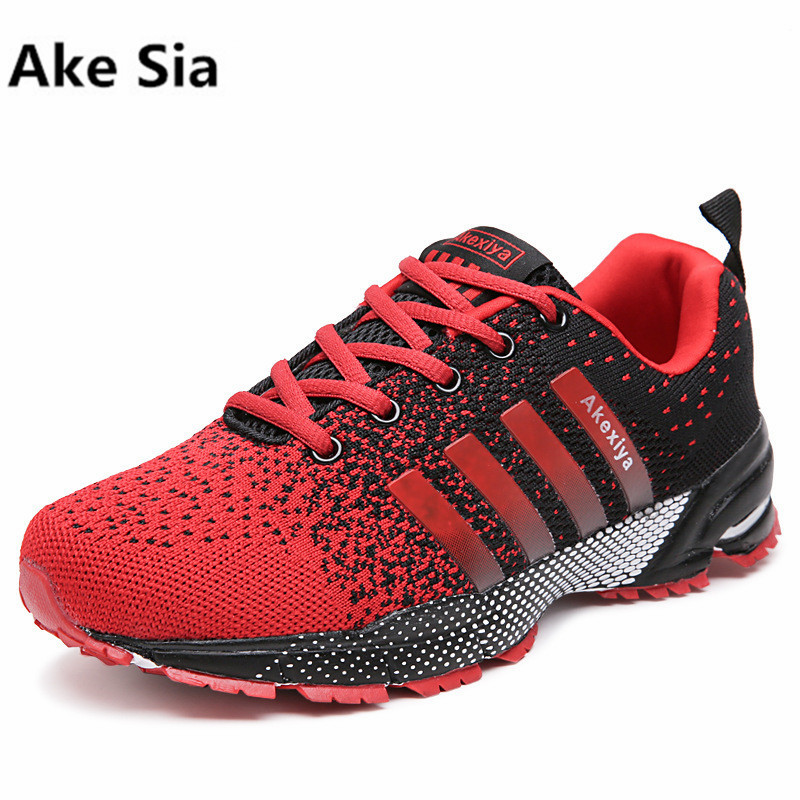 Ake Sia 2017 Hot Sales Fashion Light Breathable cheap Lace-up Men Shoes Casual Shoes For Male Black Red Plus Size 36-45