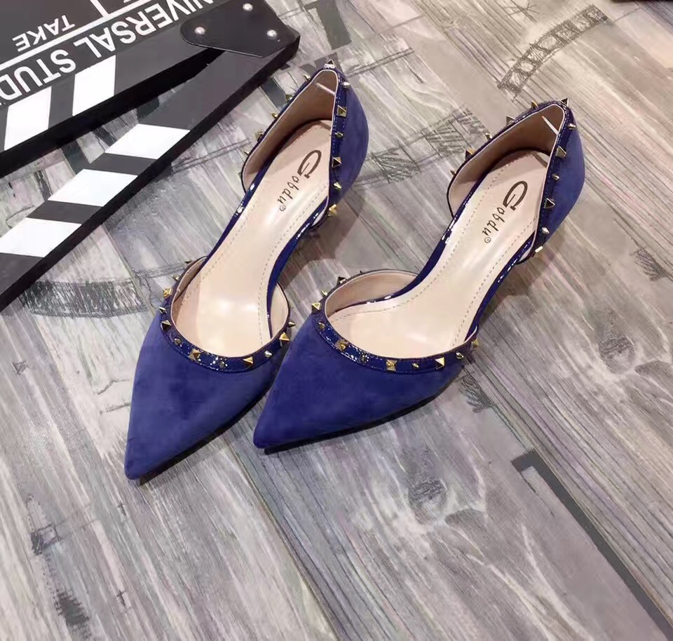 ФОТО 2017 New Design D'orsay Two Piece Summer Spring Women's Blue Pumps Black Blue Velvet Rivets Pointed Toe High Heel Shoes
