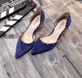 2017 New Design D'orsay Two Piece Summer Spring Women's Blue Pumps Black Blue Velvet Rivets Pointed Toe High Heel Shoes