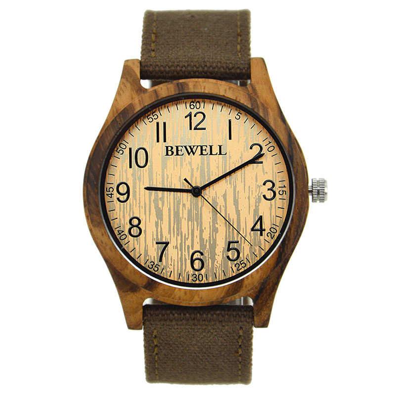 Relojes de lujo BEWELL funda redonda de madera de bambú para hombre con correa de lona reloj resistente al agua para amigos amantes regalo de padres 124B