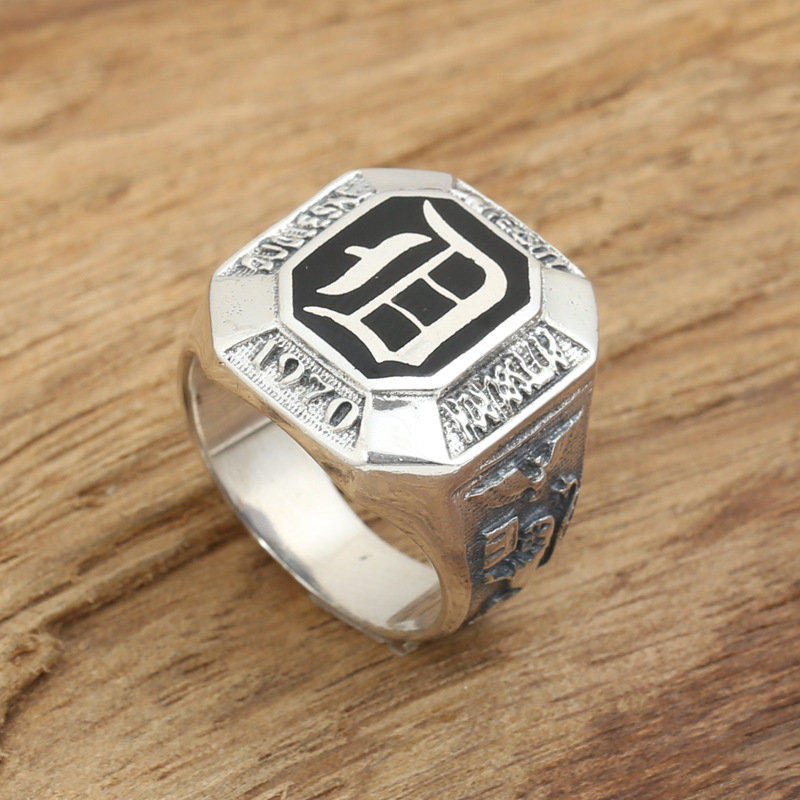 Factory wholesale sterling silver jewelry handmade silver rings S925 retro male vampire diaries D ring