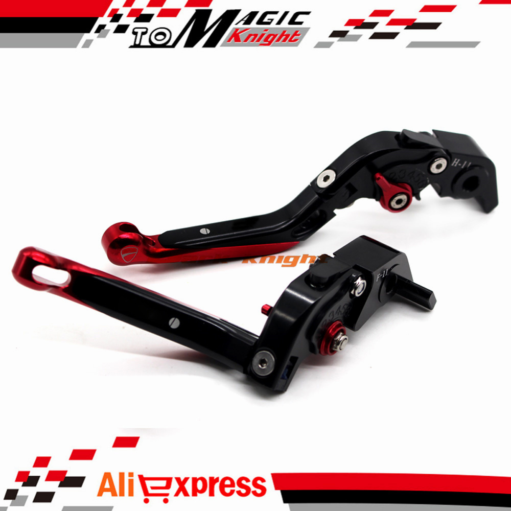 ФОТО For DUCATI 1198/S/R 2009-2011, 1199/S/R Panigale 2012-2014 Motorcycle CNC Folding Extendable Brake Clutch Levers Black+Red
