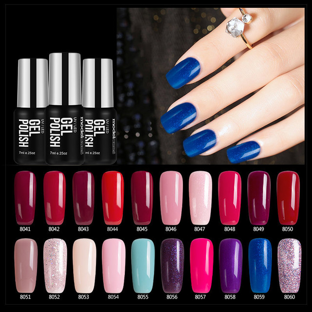 Modelones Grey Color Series UV Gel Varnishes Long lasting Gel Nail Polish 7ML Soak Off Gel Nail Varnish Need UV Lamp Nail Glue