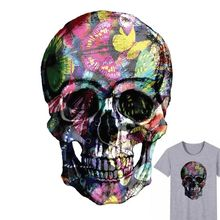 Buy 25x17cm Colorful Skull Parches Iron On Stickers Washable Appliques A-level Patches Heat Transfer For DIY Accessory Clothes Bag directly from merchant!