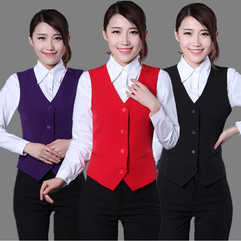 OL Solid Short Style Women Suit Vest Formal Single Breasted V Neck Slim Waistcoat Office Lady Sleeveless Workwear coletes Tops