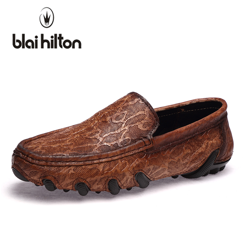 blaibilton Summer Top Brand Loafers Men Casual Shoes Genuine Leather Octopus Fashion Boat Moccasins Male Luxury Slip-On Driving farvarwo genuine leather alligator crocodile shoes luxury men brand new fashion driving shoes men s casual flats slip on loafers