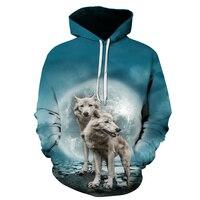 f2565e447 2018 New Galaxy Wolf 3D Hoodies Sweatshirts Men Hooded Pullover Cool  Skateboard Tracksuits Male Streetwear Pocket