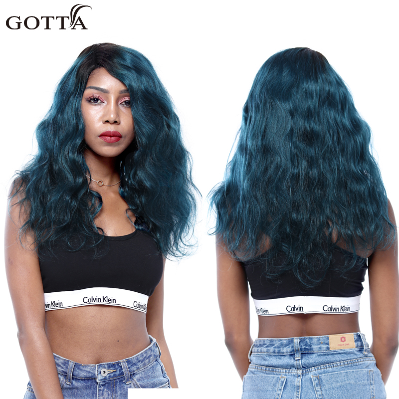 Brazilian T 1B Green Body Wave Ombre Hair Bundles 100% Virgin Human Hair Extensions Body Wave Blue Hair Colred Hair Extensions ...