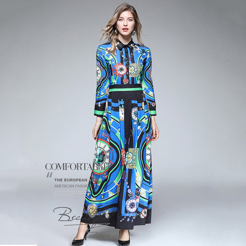 bb6a94610a3 Designer Dresses Runway 2018 High Quality Printed Retro Vintage Maxi Dress  Women Long Party Dress Spring Autumn Robe Femme