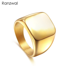 Ranzwal Men Stainless Steel Square Ring High Polished Solid Office Finger Ring Women Jewelry US SIZE 7~15 MRI003