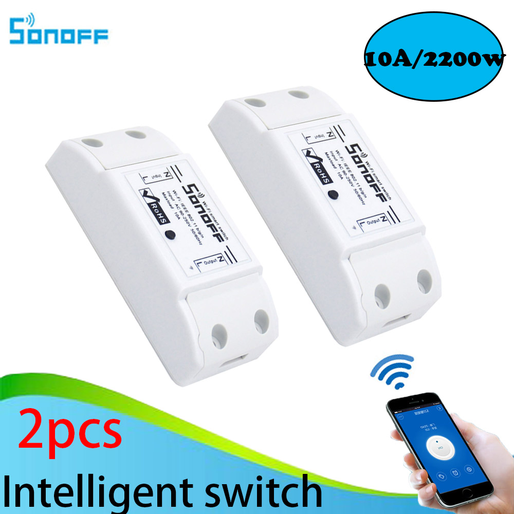 2pcs Sonoff Smart Home Wireless Intelligent  Remote Control Products Itead Share Timer Diy 220V Via Android IOS Wifi Switch sonoff 4ch channel remote control smart wifi switch home automation module on off wireless timer diy switch din rail mounting