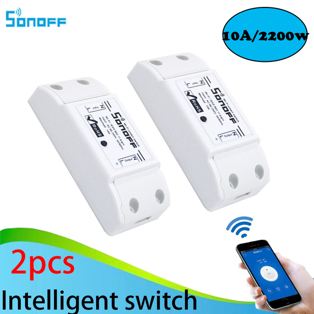 2pcs Sonoff Smart Home Wireless Intelligent  Remote Control Products Itead Share Timer Diy 220V Via Android IOS Wifi Switch